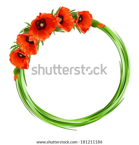 Floral round frame with red poppies. Vector background - stock vector
