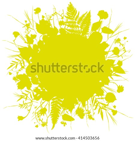 floral round frame wreath of flowers, natural design leaves flowers elements. Spring summer design for invitation, wedding or greeting cards. Gold yellow mustard silhouette, white background. Vector - stock vector