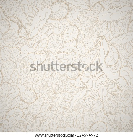 Floral seamless abstract hand-drawn card. Vector eps10 background. - stock vector
