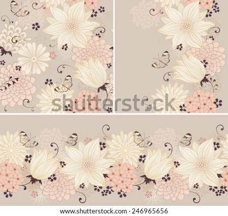 Floral seamless background and borders with lilies and butterflies. Vector ornamental pattern set. - stock vector
