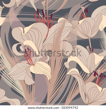 Floral seamless background. Decorative flower pattern. Floral seamless texture with flowers. - stock vector