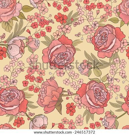 Floral seamless background.  Flouirish pattern. - stock vector