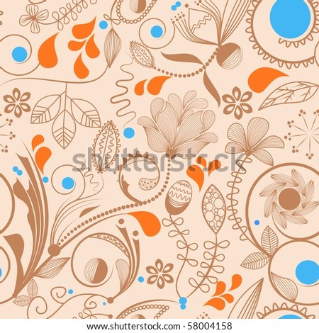 Floral seamless background in peachy tones - stock vector