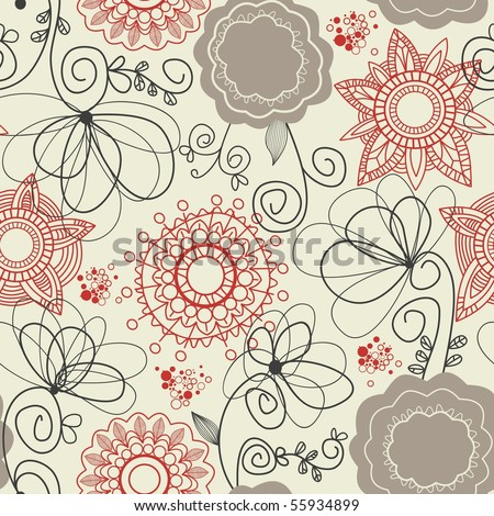 Floral seamless background in retro colors - stock vector