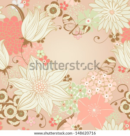 Floral seamless background with lily and butterfly. Vector pattern - stock vector