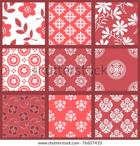 "Floral Seamless Backgrounds. All design are seamless and ""pattern swatches"" included in file, for your convenient use. - stock vector"