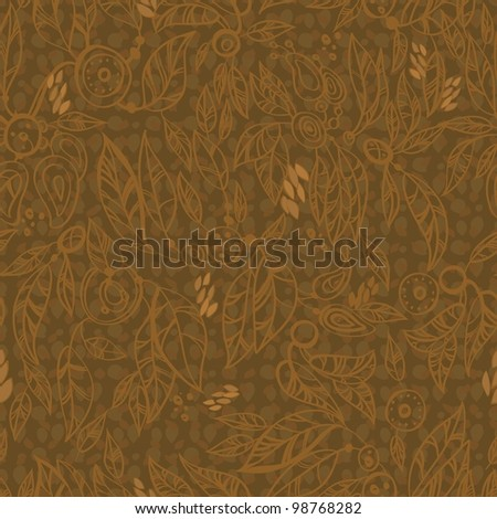 floral  seamless brown background.  Vector Leafs Silhouette Seamless Pattern