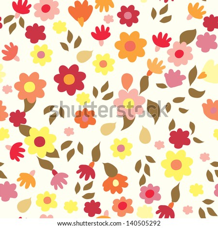 Floral seamless cute pattern simple design - stock vector