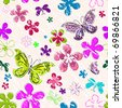 Floral seamless grunge pattern with flowers and butterflies (vector) - stock vector