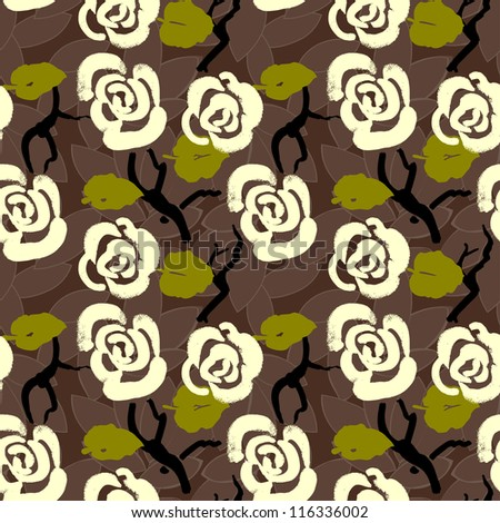 Floral seamless pattern background with roses and leaves