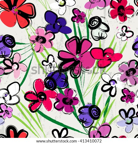 floral seamless pattern background, with strokes and splashes, summer flowers - stock vector