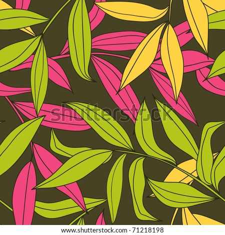 floral seamless pattern - bamboo leaves - stock vector