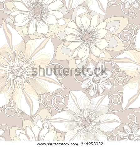 Floral seamless pattern. Detailed flowers, swirls, sprouts and petals in beige tones. Neutral background, delicate pattern. - stock vector