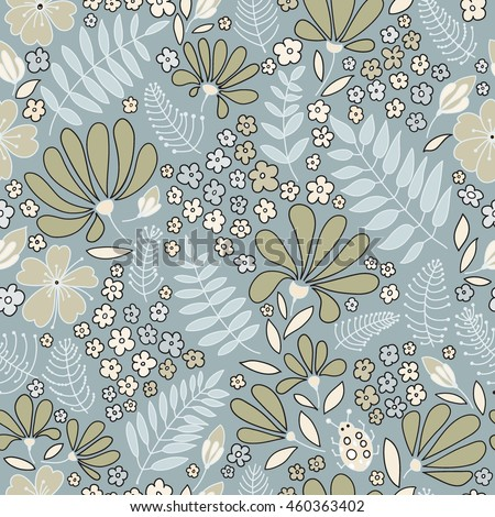 Floral seamless pattern. Elegant flowers, leaves, bugs and stones, graphics drawn by hand, vector texture.