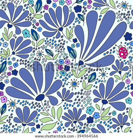 Floral seamless pattern. Elegant flowers, leaves, bugs and stones on a white background, hand drawn vector background . - stock vector