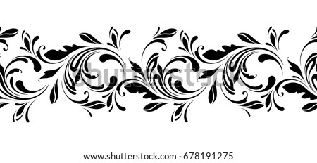 Line Drawing Flower Vector : Floral seamless pattern endless flowers border stock photo