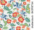 Floral seamless pattern, endless texture with flowers and birds. Vector background for textile design. - stock photo