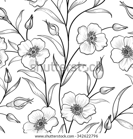 Floral seamless pattern. Flower background. Floral silhouette tile spring texture with flowers Ornamental flourish garden cover for card design - stock vector