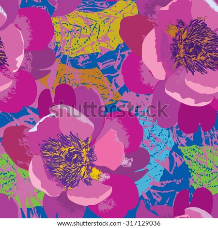 Floral seamless pattern. Flower background in 1960s pop-art style. Floral seamless texture with flowers. - stock vector