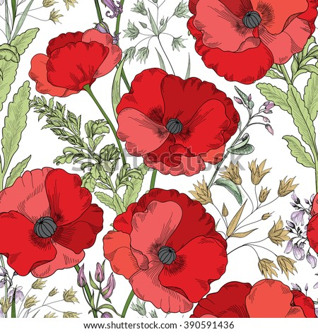 Floral seamless pattern. Flower poppy background. Flourish tiled ornamental texture with flowers. Spring floral garden - stock vector