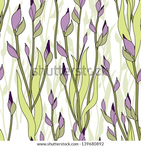 floral seamless pattern. flowers iris and leaves background. - stock vector