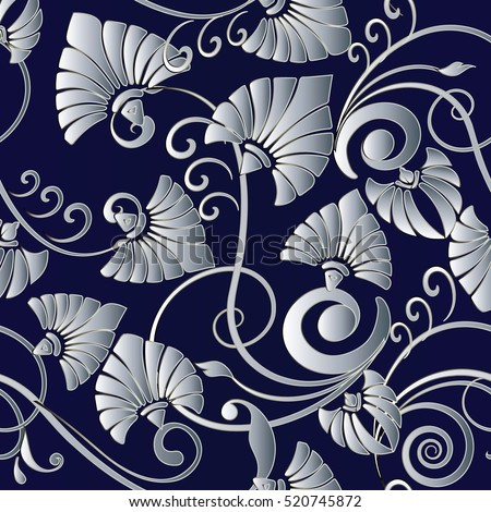 Floral Seamless Pattern Flowery Background Flowers Wallpaper With Vintage Decorative White 3d Leaves