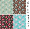 floral seamless pattern in four color palettes - stock vector