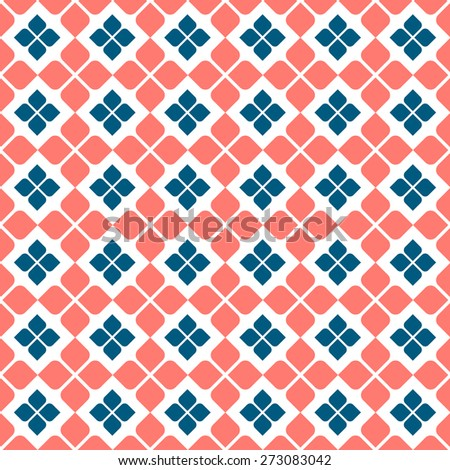 Floral seamless pattern in retro colors. Vector background - stock vector