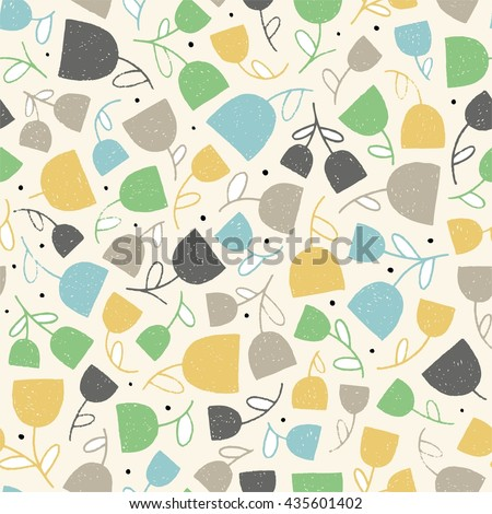 Floral seamless pattern in vector. Hand drawn background with tulip flowers. This decorative pattern can be used for textile design - stock vector