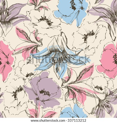 Floral seamless pattern, lilies and poppy print on paper or textile support - stock vector