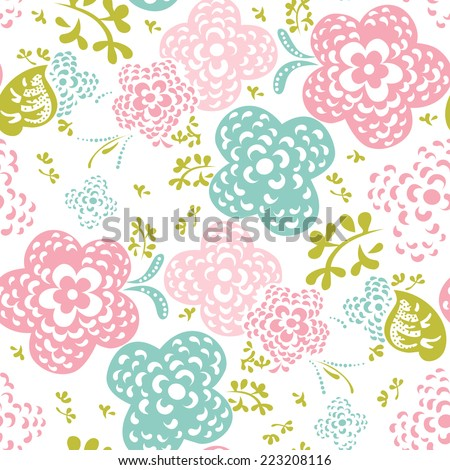 Floral seamless pattern or background, sweet style - stock vector
