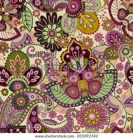 Floral seamless pattern. Paisley flowers background - stock vector