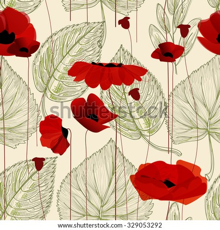 Floral seamless pattern, poppy - stock vector