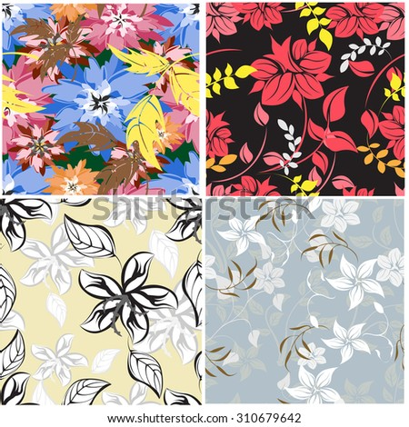 Floral Seamless Pattern Set - Illustration Flower, Single Flower, Floral Pattern, Pattern, Backgrounds - stock vector