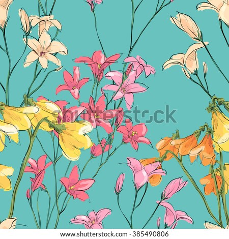 Floral seamless pattern. Sketch style. Vector illustration.