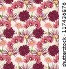 Floral seamless pattern stylized like watercolor art - stock photo