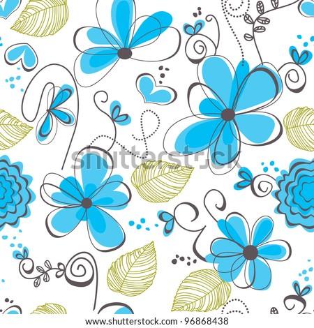 Floral seamless pattern vector illustration - stock vector