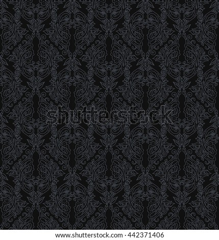 Floral seamless pattern - vector illustration of detailed ornament of floral twigs and curled branches in black dark colors