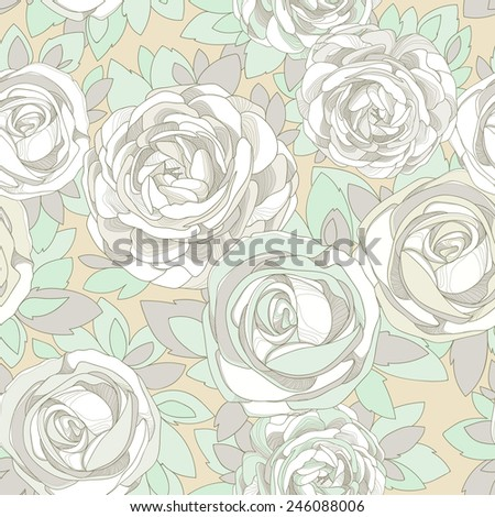 Floral seamless pattern. Vintage rose wallpaper. Detailed flowers, buds and petals. Yellow background with delicate flowers in neutral pastel colors with green details. - stock vector