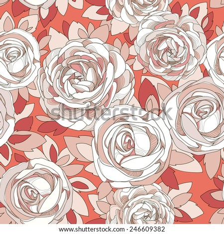 Floral seamless pattern. Vintage rose wallpaper. Detailed white flowers, buds and petals. Bright background, botanical rose. Juicy red background with delicate flowers in neutral pastel colors. - stock vector