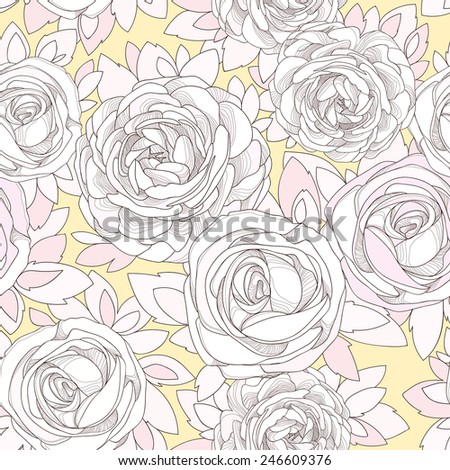 Floral seamless pattern. Vintage rose wallpaper. Detailed white flowers, buds and petals. Neutral background, botanical rose. Pale yellow background with a delicate flowers in neutral pastel colors. - stock vector