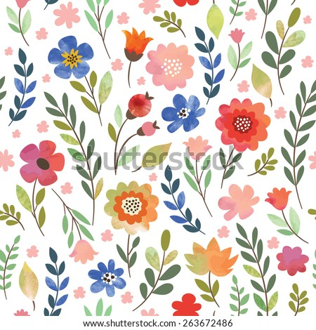 floral seamless pattern, watercolor flowers - stock vector