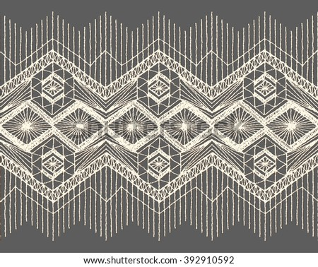 Floral seamless pattern with a fringe border knitted or woven macrame in boho style - stock vector