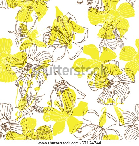 Floral  seamless pattern with bee - stock vector