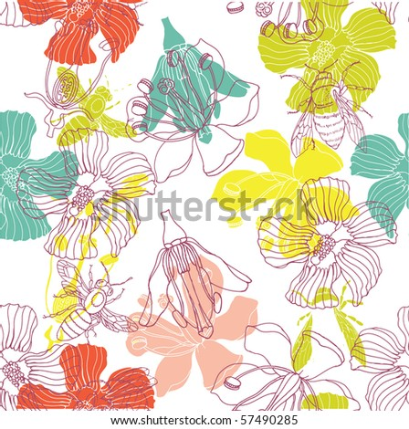 Floral seamless pattern with bee
