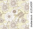 floral seamless pattern with bird - stock vector