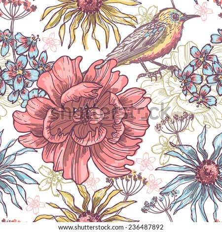 Floral seamless pattern with bird. All objects are conveniently grouped  and are easily editable.