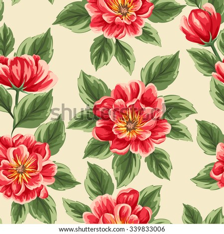 Floral seamless pattern with bright peonies stylized like watercolor - stock vector