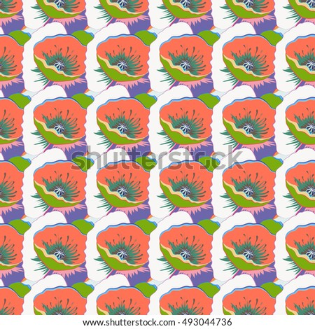 Floral seamless pattern with bright summer flowers. Endless vector texture for romantic design, decoration, greeting cards, posters, invitations, advertisement, for textile print and fabric.