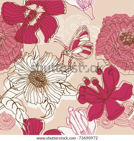 Floral seamless pattern with butterfly - stock vector